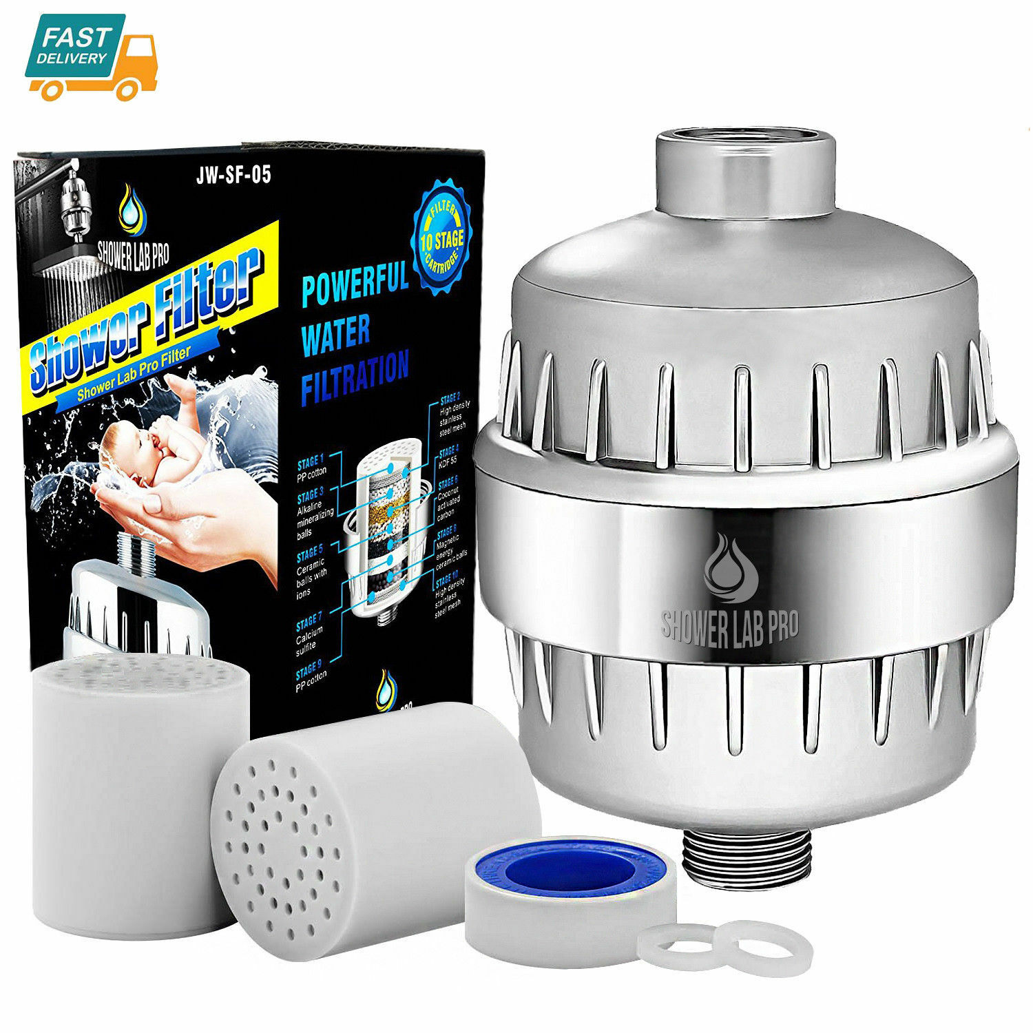 Shower Lab Pro 10-Stage Shower Water Filter with 2 Cartridge
