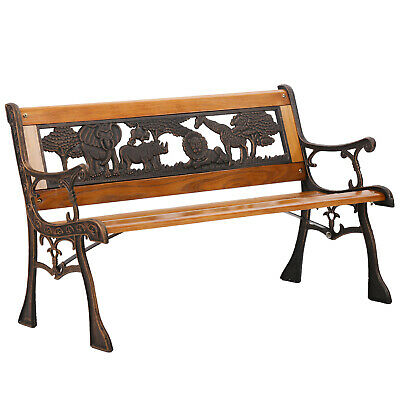 Garden Furniture - Refurbished Patio Bench Porch Chair Cast Iron Garden Park Hardwood Furniture