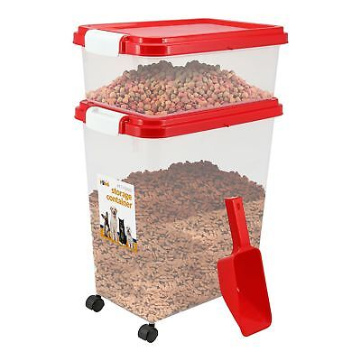 Pet Food Storage Container With Lids Pet Animal Food etc with 2 cup Scoop Red