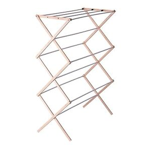 Household Essentials Folding Wood Clothes Drying Rack, Pre assembled, New