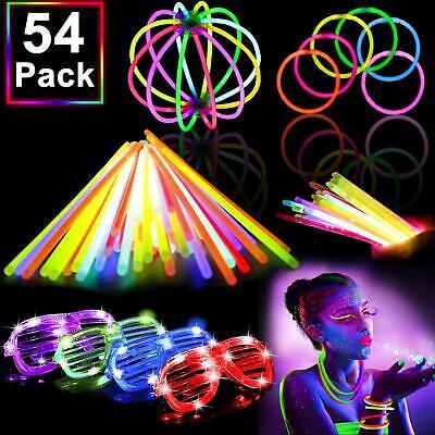 Glow In The Dark Sticks (54 Pack Glow Sticks Bulk Party Pack Supplies Halloween Glow in The Dark)