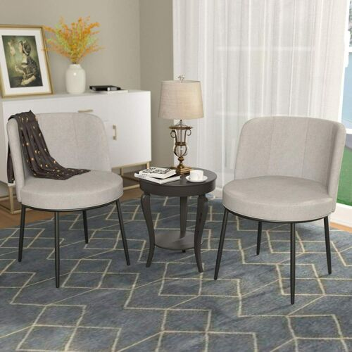 2 PCS Dining Chairs, Upholstered Accent Chairs w/ Metal Frame for Kitchen Beige