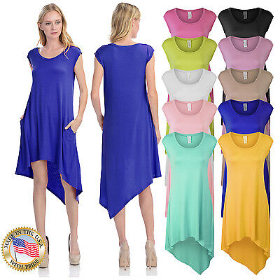 *CLEARANCE* Women's Sleeveless Handkerchief Hem Jersey Tunic Dress with - Dress With Handkerchief Hem