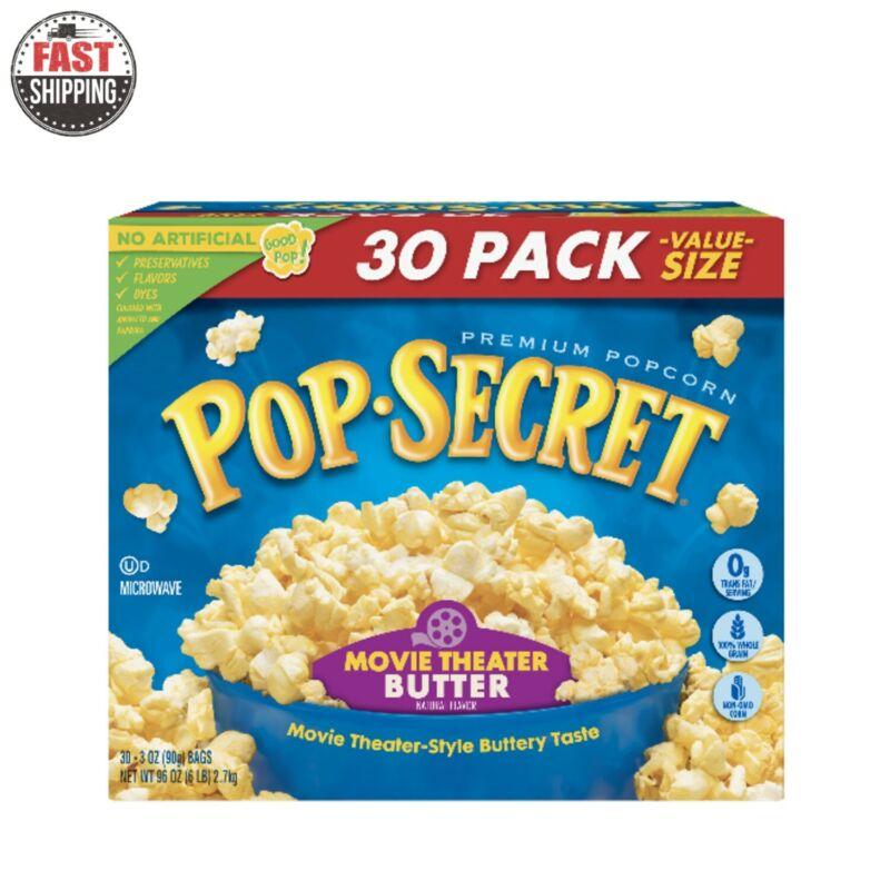 Microwave Popcorn Movie Theater Butter 3 Oz 30 Ct By Pop Secret