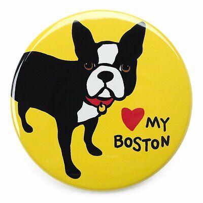 MARC TETRO 'LOVE MY BOSTON' (TERRIER) FRIDGE MAGNET YELLOW LARGE (I HEART)