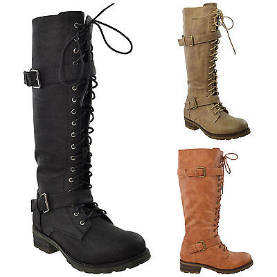 Buckle Knee High Boot (Womens Knee High Boots Lace Up Combat Leather Buckle Straps Shoes)