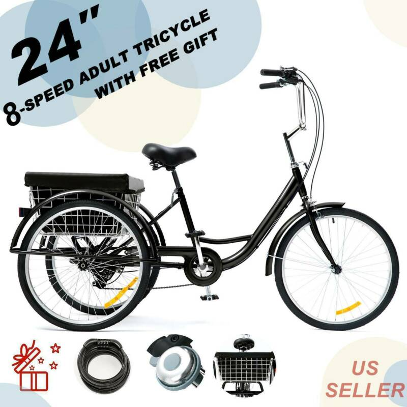 24 Inch Trike 8 Speed Adult Tricycle 3-Wheel Black Bike w/Ba