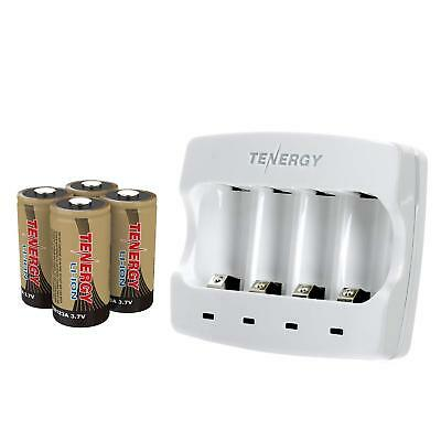 Tenergy 4PCS RCR123A Li-ion Rechargeable Batteries+Arlo Battery Fast Charger