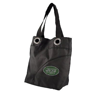 (NFL New York Jets Sport Noir Sheen Tote Bag / Purse - Black)
