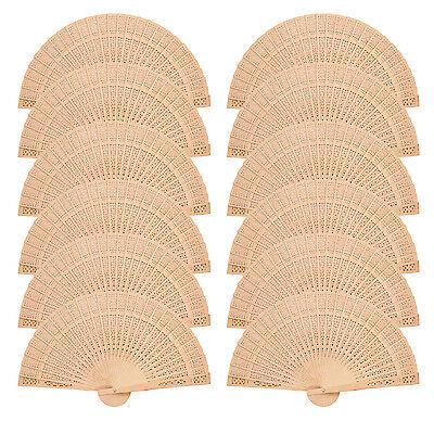 Pack of 12 pcs  Elegant Fragrant Wood Wooden Hand Fan Vintage Wedding US Stock