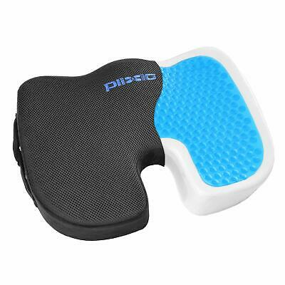 Plixio Cooling Gel Seat Cushion Memory Foam Coccyx Car & Chair Pillow -