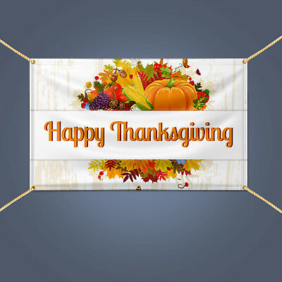 anner, Outdoor Party Decor Heavy Duty Vinyl Sign, 3' X 2' (Happy Thanksgiving-banner)