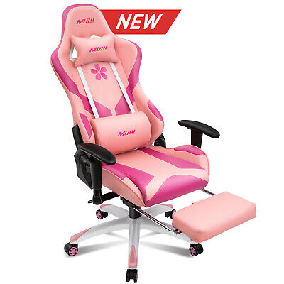 Pink Ergonomic Computer Gaming Chair High-back Chairs Swivel Office Racing Style