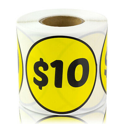 10 Dollars Stickers Garage Sale Retail Flea Market Price Labels 2 Round 2pk