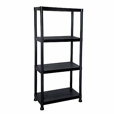 NEW! 4 Tier Black Plastic Heavy Duty Shelving Racking File Storage Unit