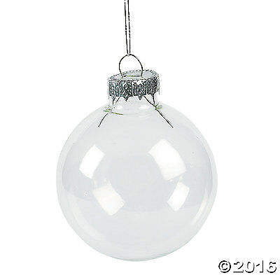 12 CLEAR GLASS ROUND ORNAMENTS Ready for you to Do Your Own Design Crafts