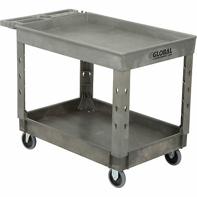 Plastic 2 Tray Shelf Service Utility Cart 44 X 25-12 5 Rubber Casters