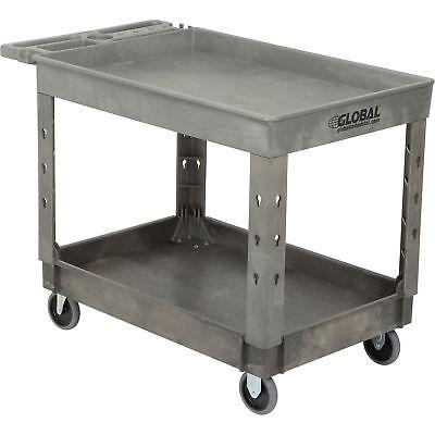 Plastic 2 Tray Shelf Service Utility Cart 44 X 25-12 5 Rubber Casters