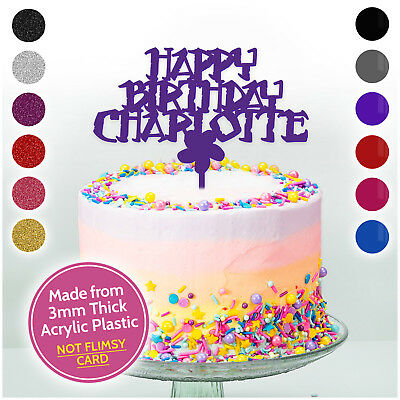 Flower Themed Personalised Birthday Girls Cake Topper Cake Decoration ANY NAME
