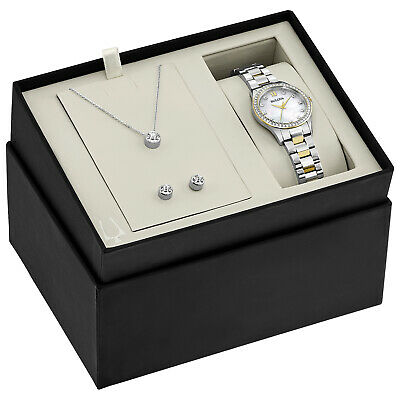 Bulova Women's Quartz 28mm Two-Tone Watch Pendant and Earrings Set 98X112