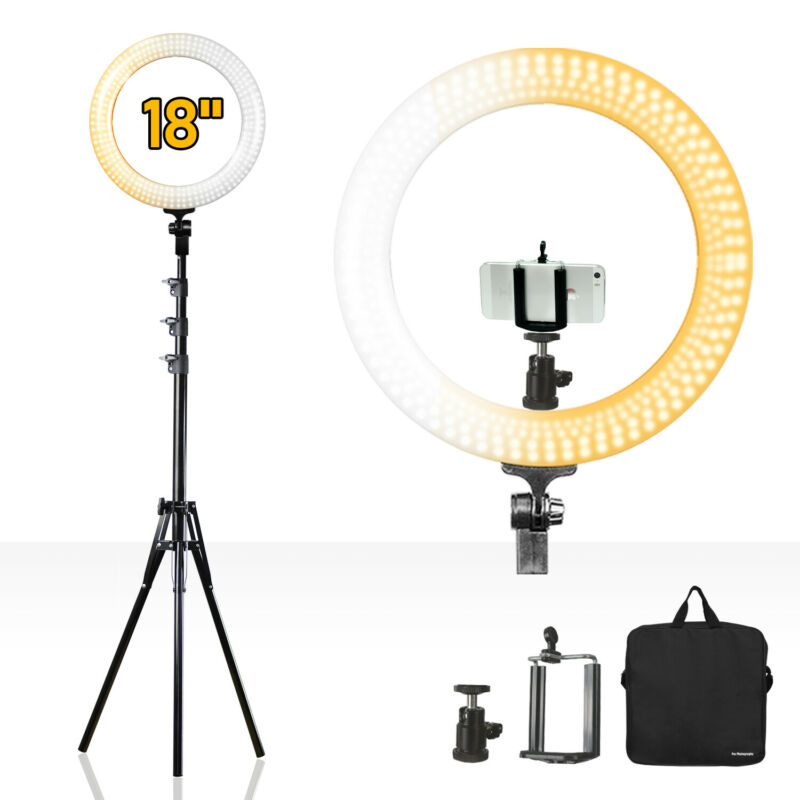 "LED Dual Color Dimmable 18"" Ring Light with Tripod Adapter and Light Stand"