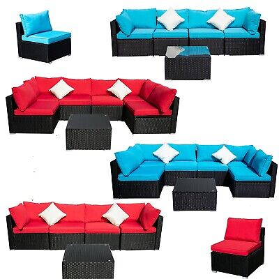 2/5/7/12P Rattan Wicker Sofa Patio Furniture Set Cushion Section Couch - Red Wicker