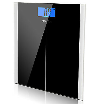 Etekcity 400lb LCD Digital Bathroom Body Weight Scale Tempered Glass +Batteries