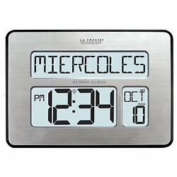 Digital Clock Calendar Large Digits Atomic for Wall Desk - La Crosse Technology