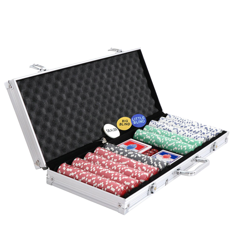 500PCS Chips Poker Chip Set Holdem Table Cards Game Blackjack Roulette 5 Dices Casino