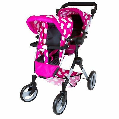 Lissi Doll Double Stroller Pink w/Polka Dots Fits 2 Dolls Up to 18