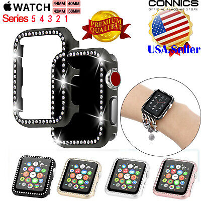 For Apple Watch Series 4/5 44/40 Diamond Bling Crystal iWatch 3 2 Protector Case Quartz Bling Watch