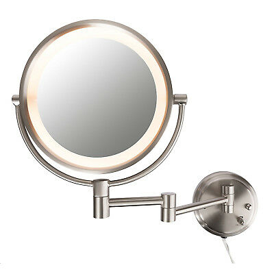 Conair BE6BXR Lighted Mirror 8X Satin Nickel Wall Mount Fluorescent Hotel Makeup
