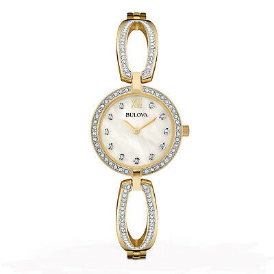 Bulova Women's Quartz Crystal Accents Gold-Tone Case 26mm Watch 98L225