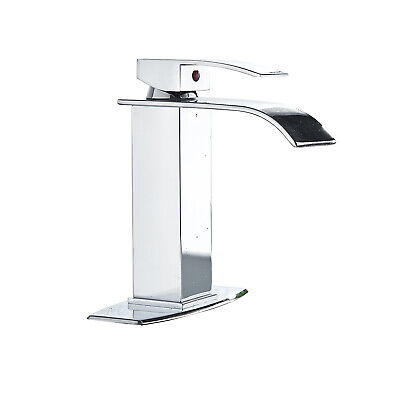 Chrome Waterfall Bathroom Sink Faucet Basin Mixer With Cover Plate Tap 1 Handles 1 Handle Sink Faucet