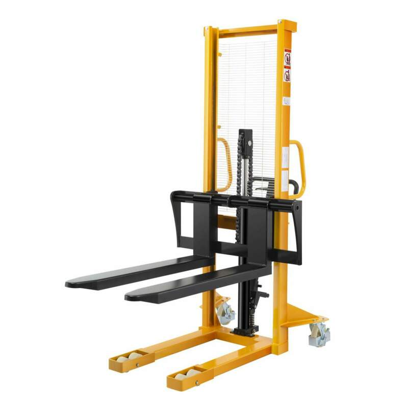 """Manual Pallet Jack Stacker Lift Height 63"""" 2200lbs Capacity With Adjustable Fork"""