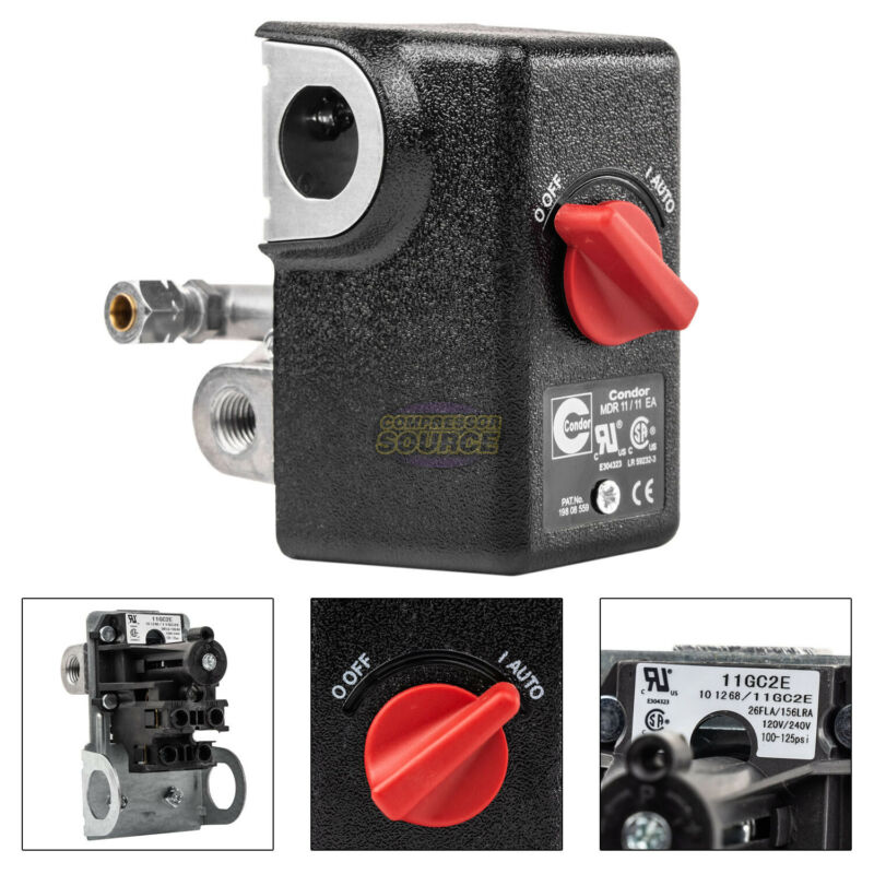 "Condor 11GC2E Pressure Switch Control Valve 100-125PSI 4 Port 1/4"" FNPT MDR11/11"