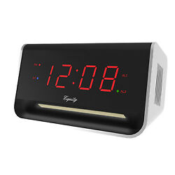 75910 Equity by La Crosse 0.9 Red LED Digital Alarm Clock with Bluetooth & USB