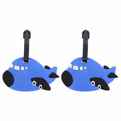 Luggage Tag Silicone Blue Airplane ID Holder Kids 2 Duffel Suitcase Travel Tags