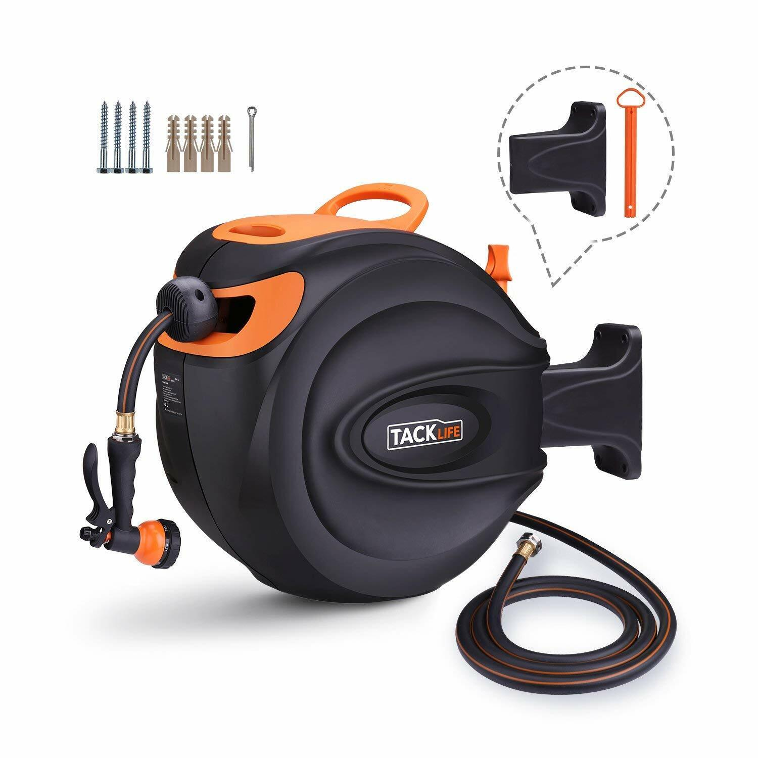 TACKLIFE Hose Reel, 65+7 FT Wall Mounted Retractable Garden