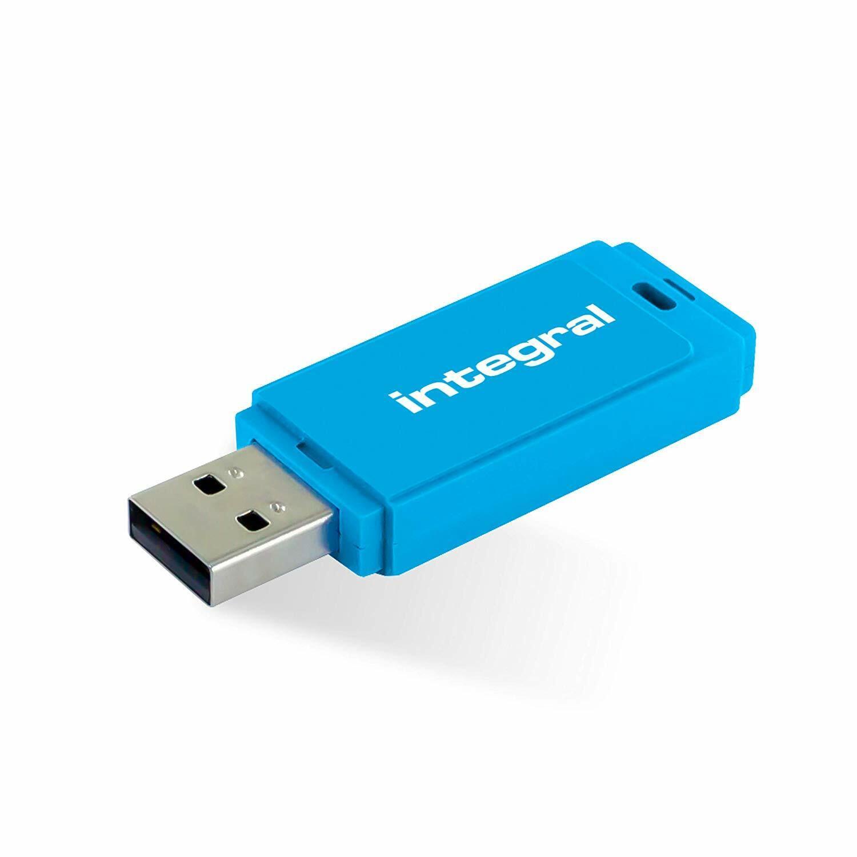 Integral 128GB USB 2.0 Flash Drive - Neon BLUE