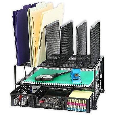 Wire Mesh Desk Organizer File Document Paper Letter Tray Holder Sliding Drawer