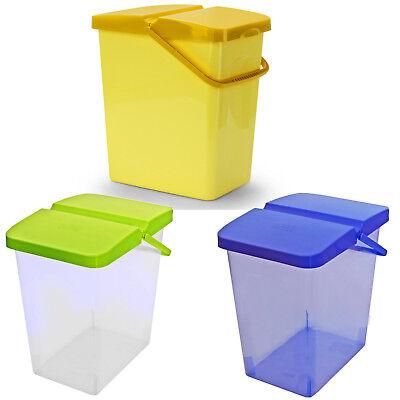 Kunststoff-behälter Mit Deckel (Branq 10 L Behälter Waschpulver Futterbehalter Unibox mit Deckel Gelb & Blau Lim)