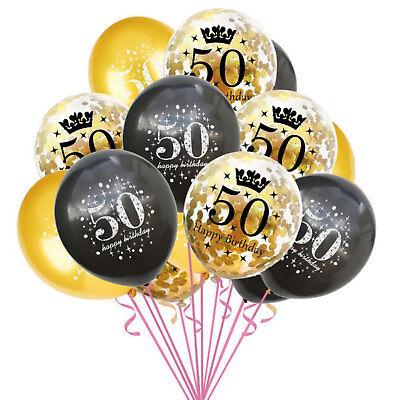 Konfetti Luftballon Set für 50. Geburtstag Feier Party Ballons Gold Schwarz ()