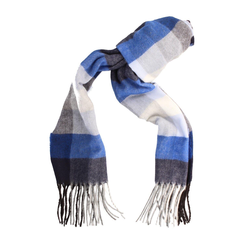 Edler Schal blau kariert, Damen, Herren, Unisex, Business, 160 x 28 cm