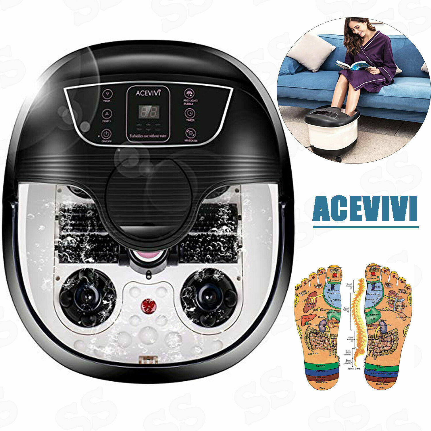 All in One Foot Spa Bath Massager with Heat, Motorized Shiat