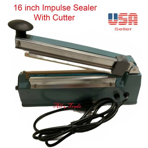 """16 inch Impulse Seal Machine Wrap with Cutter, Heat Poly Bag Hand Sealer 16"""""""