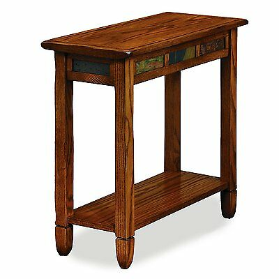 Leick Furniture Chairside End Table With Shelf In Rustic Oak