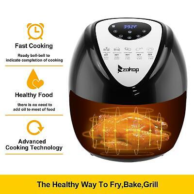 Zokop 6.8qt Capacity Air Fryer Xl W Lcd Screen And Non-stick Coating 1800w