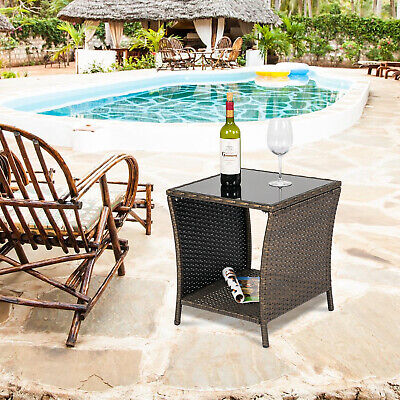 Rattan Wicker Square Glass Top Tea Table Patio Garden Outdoor Furniture New Glass Top Patio Tables