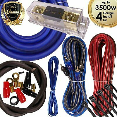 Complete 3500W 4 Gauge Car Amplifier Installation Wiring Kit Amp PK3 4 Ga Blue